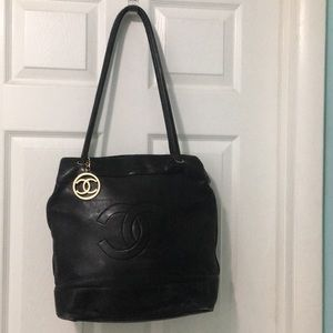 Vintage CHANEL black classic tote bag